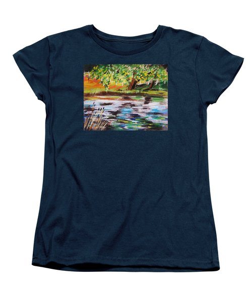 Women's T-Shirt (Standard Cut) featuring the painting Trees Edge The Pond by John Williams