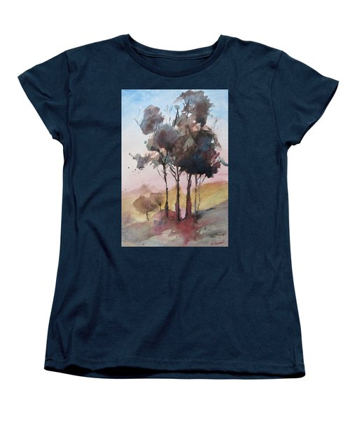 Women's T-Shirt (Standard Cut) featuring the painting Trees by Geni Gorani
