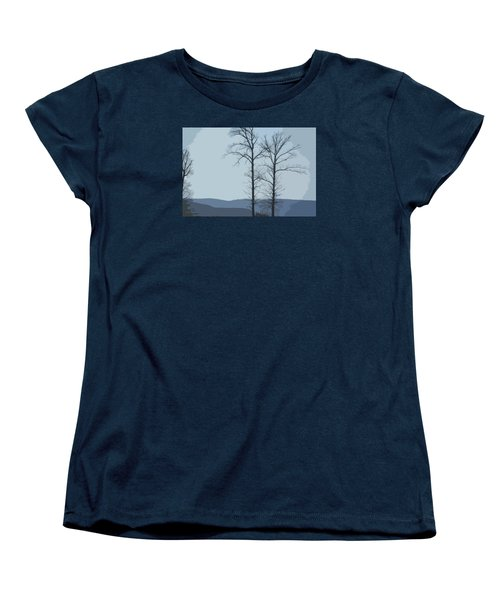 Trees On Blue Women's T-Shirt (Standard Cut) by Donna G Smith