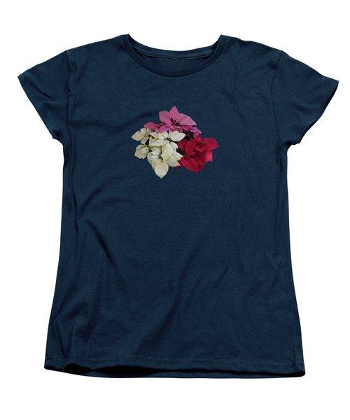 Tricolor Poinsettias Transparent Background   Women's T-Shirt (Standard Cut)