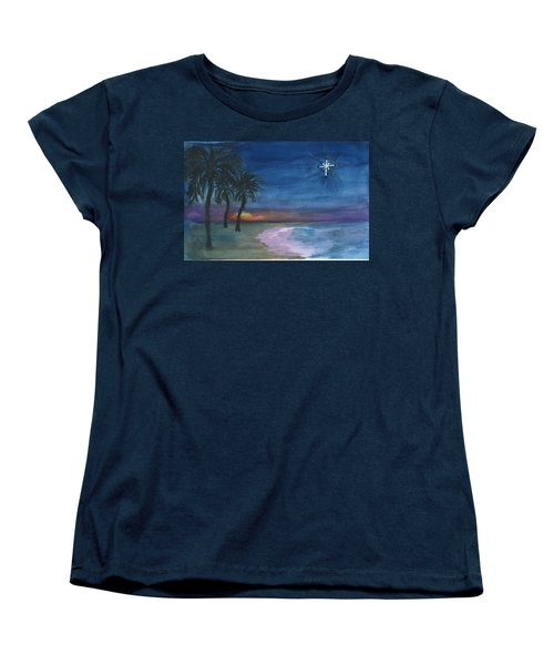 Women's T-Shirt (Standard Cut) featuring the painting Tropical Christmas by Donna Walsh