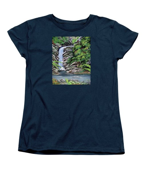 Tropical Waterfall 2 Women's T-Shirt (Standard Cut) by Luis F Rodriguez