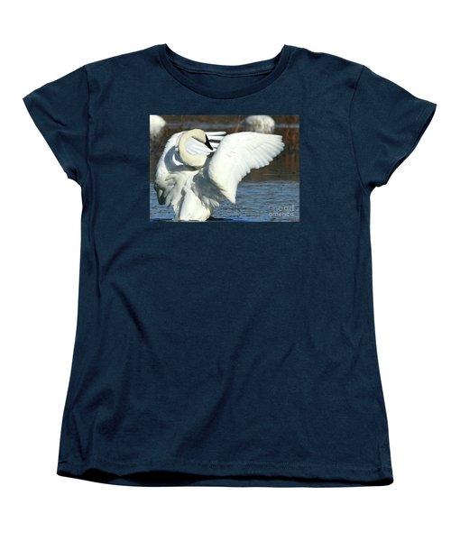 Women's T-Shirt (Standard Cut) featuring the photograph Trumpeter Swan by Paula Guttilla