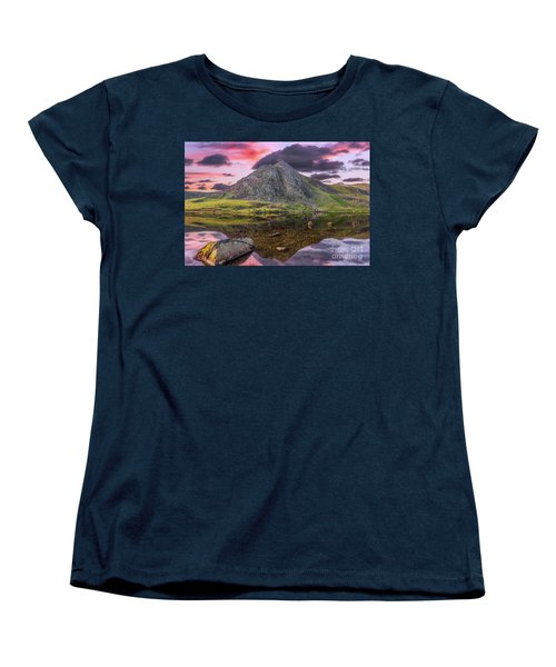 Women's T-Shirt (Standard Cut) featuring the photograph Tryfan Mountain Sunset by Adrian Evans