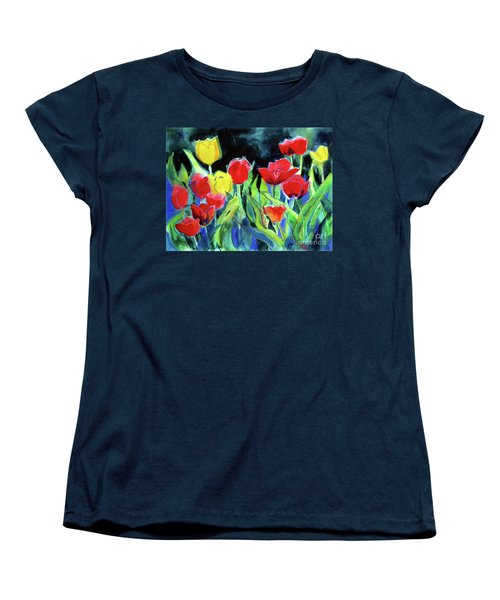Women's T-Shirt (Standard Cut) featuring the painting Tulip Bed At Dark by Kathy Braud