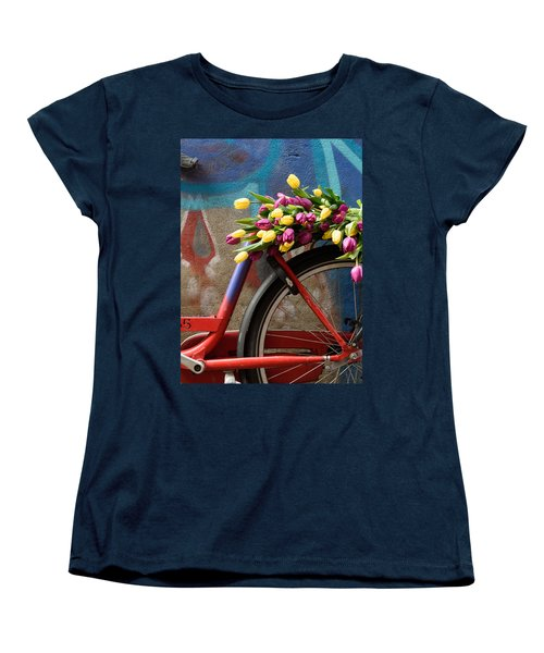 Women's T-Shirt (Standard Cut) featuring the photograph Tulip Bike by Phyllis Peterson