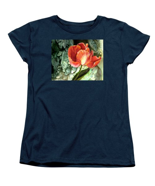 Women's T-Shirt (Standard Cut) featuring the painting Tulip Dance by Sherry Shipley