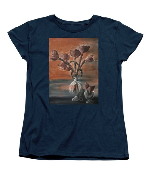 Women's T-Shirt (Standard Cut) featuring the painting Tulip Flowers Bouquet In Two Round Water Filled Small Globe Shaped Vases On A Table Still Life Of Bo by MendyZ