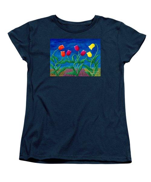Tulip Tango Women's T-Shirt (Standard Cut) by Rebecca Parker