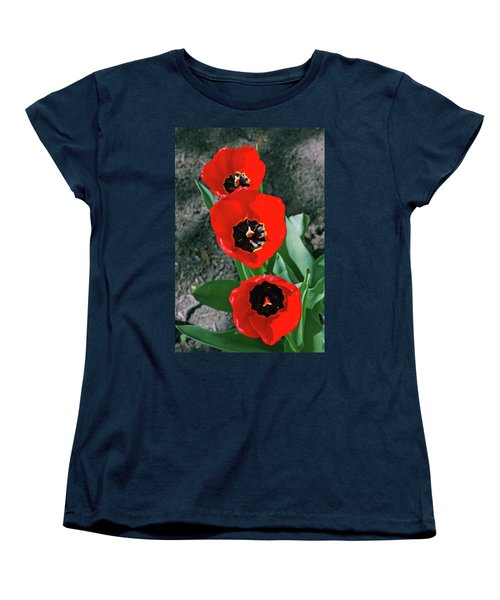Women's T-Shirt (Standard Cut) featuring the photograph Tulip Trio by LeeAnn McLaneGoetz McLaneGoetzStudioLLCcom