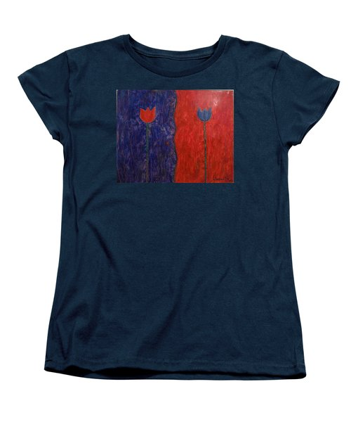 Women's T-Shirt (Standard Cut) featuring the painting Tulip by Walter Casaravilla