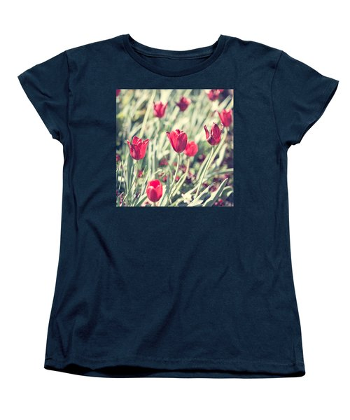 Women's T-Shirt (Standard Cut) featuring the photograph Tulips In Red by Wade Brooks