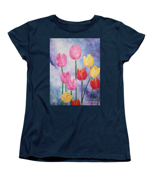 Women's T-Shirt (Standard Cut) featuring the painting Tulips - Red-yellow-pink by Sigrid Tune