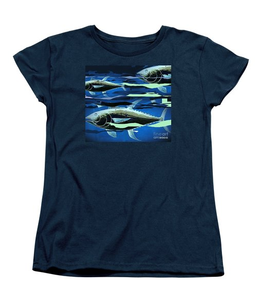 Women's T-Shirt (Standard Cut) featuring the painting Tuna Run by Andrew Drozdowicz