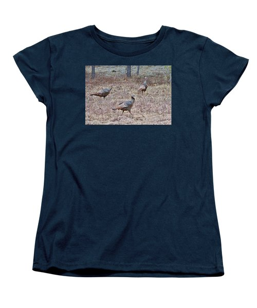 Women's T-Shirt (Standard Cut) featuring the photograph Turkey Trio 1153 by Michael Peychich