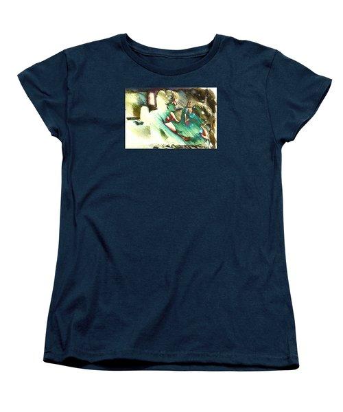 Turquoise Embrace Women's T-Shirt (Standard Cut) by Andrea Barbieri
