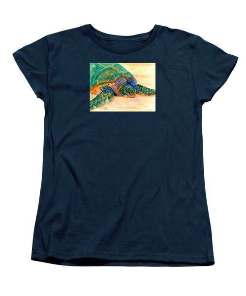 Women's T-Shirt (Standard Cut) featuring the painting Turtle At Poipu Beach 7 by Marionette Taboniar