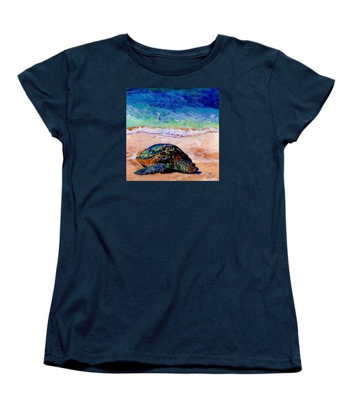 Women's T-Shirt (Standard Cut) featuring the painting Turtle At Poipu Beach 9 by Marionette Taboniar