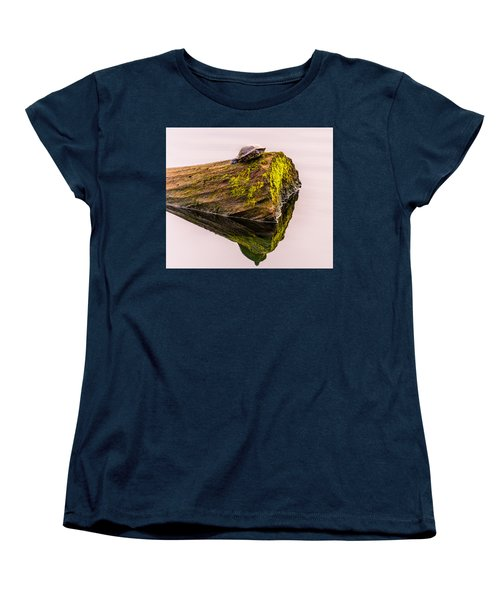Turtle Basking Women's T-Shirt (Standard Cut) by Jerry Cahill