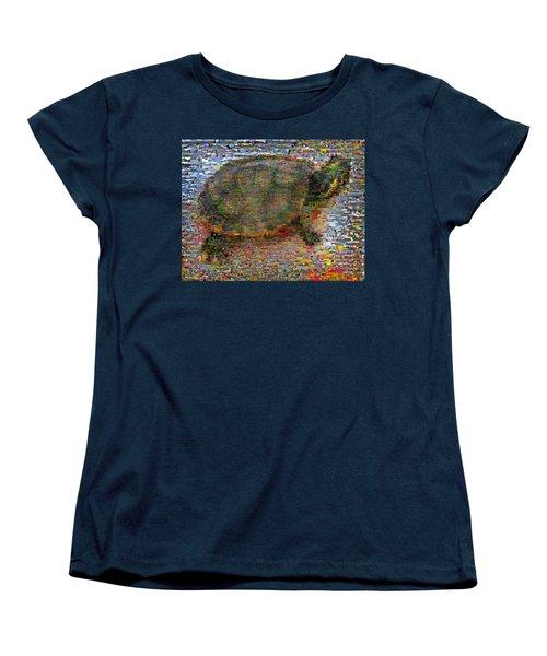 Women's T-Shirt (Standard Cut) featuring the mixed media Turtle Wild Animals Mosaic by Paul Van Scott