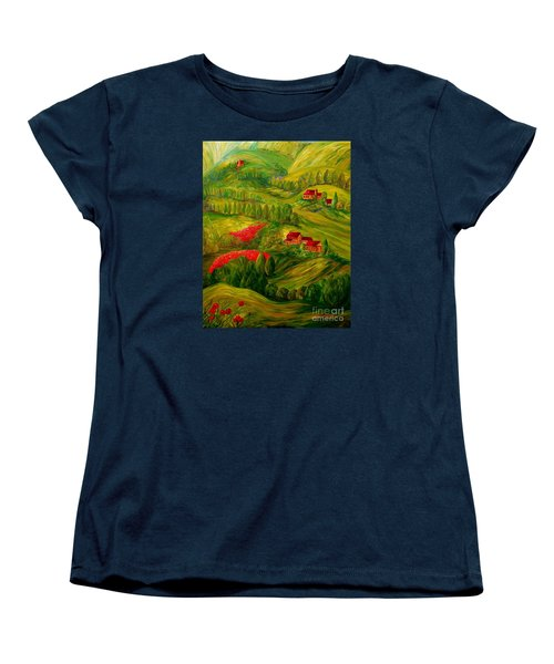 Tuscany At Dawn Women's T-Shirt (Standard Cut) by Eloise Schneider