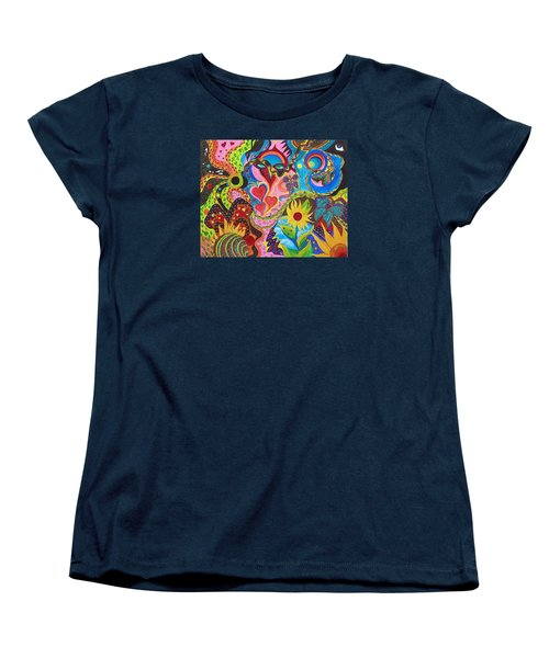 Women's T-Shirt (Standard Cut) featuring the painting Hearts And Flowers by Marina Petro