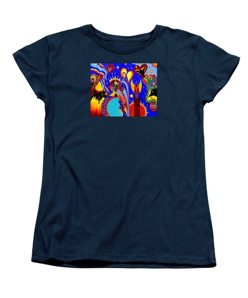 Women's T-Shirt (Standard Cut) featuring the painting Angel Fire by Marina Petro
