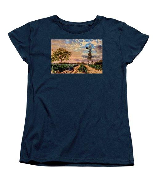 Twilight At The Vineyard Women's T-Shirt (Standard Cut) by Ron Chambers