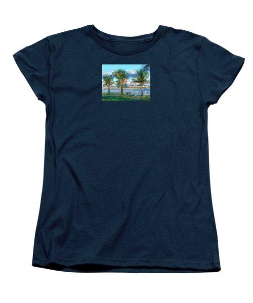 Women's T-Shirt (Standard Cut) featuring the digital art Twilight On Saw Fish Bay by Jean Pacheco Ravinski