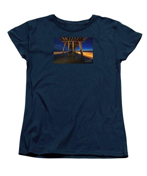 Twilight Under The Imperial Beach Pier San Diego California Women's T-Shirt (Standard Cut) by Sam Antonio Photography