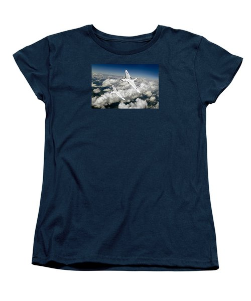 Women's T-Shirt (Standard Cut) featuring the photograph Two Avro Vulcan B1 Nuclear Bombers by Gary Eason