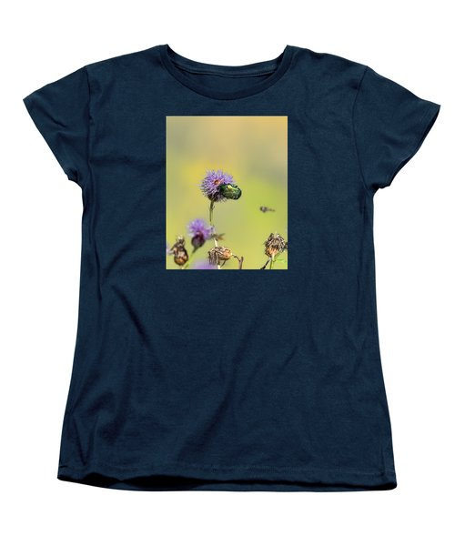 Women's T-Shirt (Standard Cut) featuring the photograph Two Beetles On A Thistle Flower by Leif Sohlman