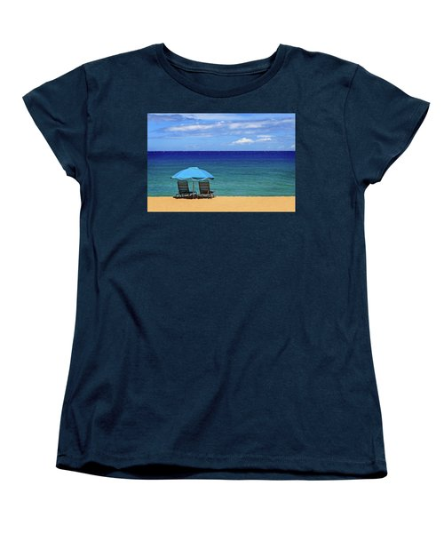 Women's T-Shirt (Standard Cut) featuring the photograph Two Chairs And An Umbrella by James Eddy