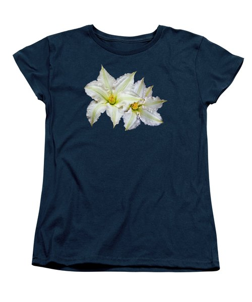 Two Clematis Flowers On Purple Women's T-Shirt (Standard Cut) by Jane McIlroy
