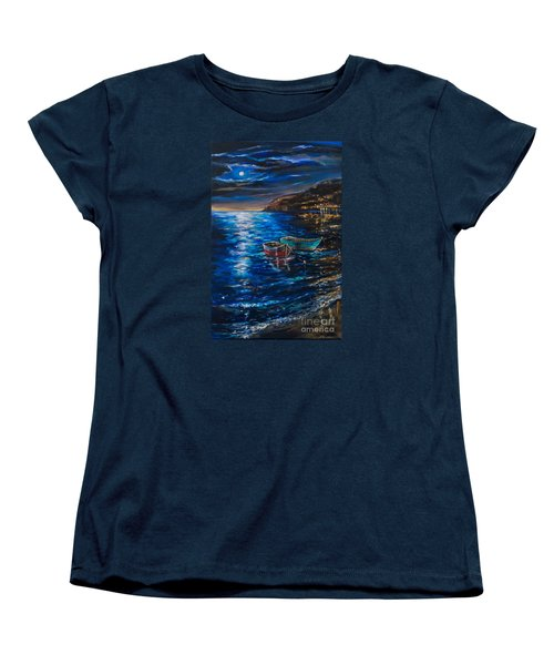 Women's T-Shirt (Standard Cut) featuring the painting Two Dinghies by Linda Olsen