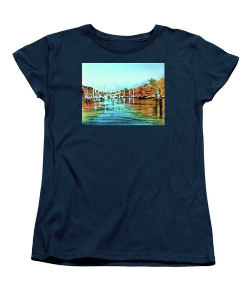 Two Harbors Catalina Morning Impressions Women's T-Shirt (Standard Cut) by Debbie Lewis
