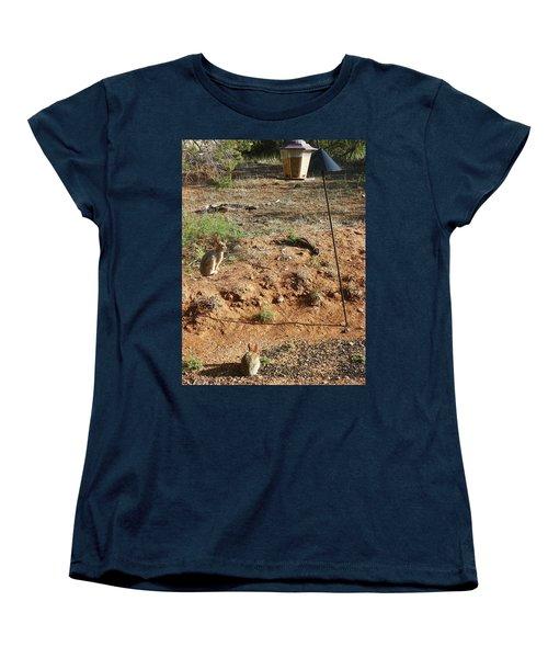 Women's T-Shirt (Standard Cut) featuring the photograph Two Rabbits And Bird Feeder by Joseph Frank Baraba