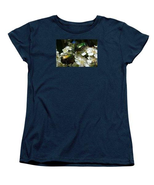 Women's T-Shirt (Standard Cut) featuring the photograph Two Scarabs Metallic Green by Jean Bernard Roussilhe