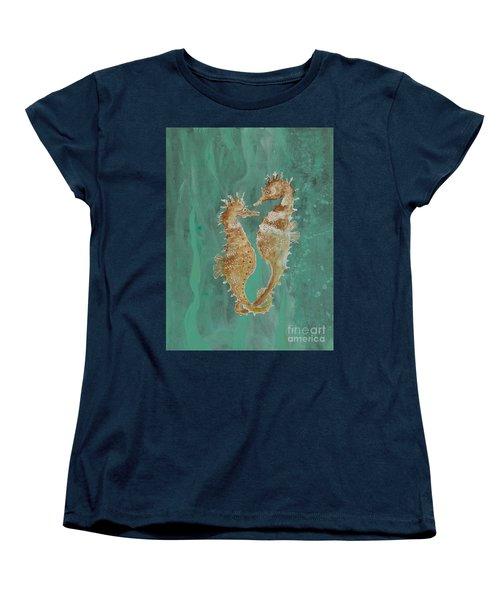 Two Seahorse Lovers Women's T-Shirt (Standard Cut) by Robin Maria Pedrero