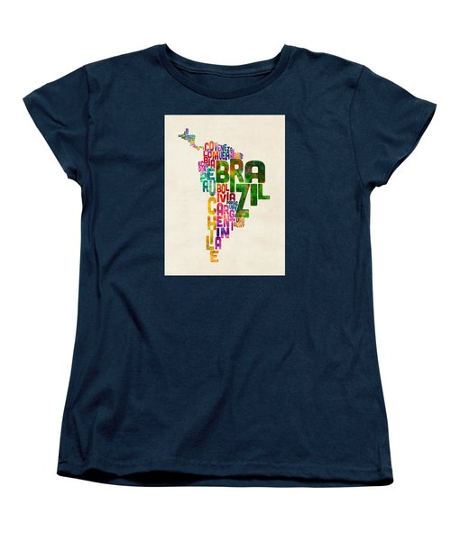 Typography Map Of Central And South America Women's T-Shirt (Standard Cut) by Michael Tompsett