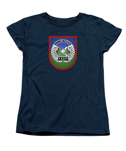 Women's T-Shirt (Standard Cut) featuring the digital art U. S.  Air Force Tactical Air Control Party -  T A C P  Beret Flash With Crest Over Blue Velvet by Serge Averbukh