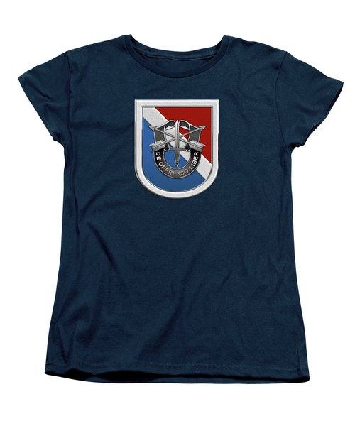 U. S.  Army 11th Special Forces Group - 11 S F G  Beret Flash Over Green Beret Felt Women's T-Shirt (Standard Cut) by Serge Averbukh