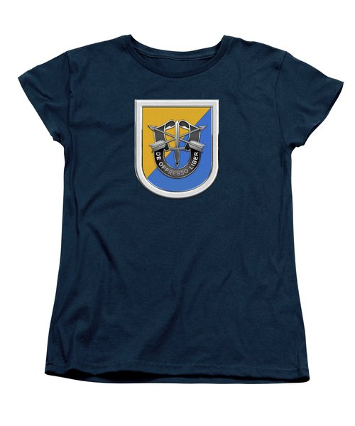 U. S.  Army 8th Special Forces Group - 8 S F G  Beret Flash Over Green Beret Felt Women's T-Shirt (Standard Cut) by Serge Averbukh