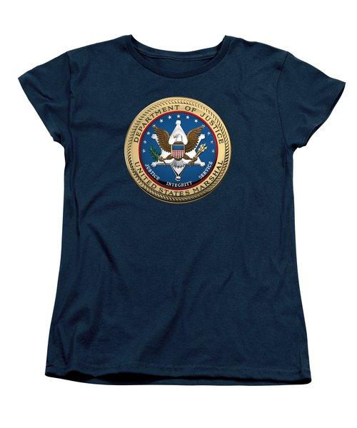 Women's T-Shirt (Standard Cut) featuring the digital art U. S.  Marshals Service -  U S M S  Seal Over Blue Velvet by Serge Averbukh
