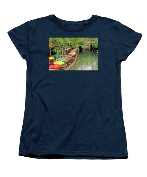 Women's T-Shirt (Standard Cut) featuring the photograph Umbrellas Along River Walk - San Antonio by Art Block Collections