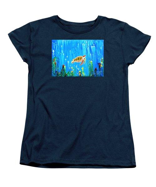 Underwater Magic 5-happy Turtle Women's T-Shirt (Standard Cut)