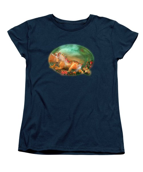 Unicorn Of The Roses Women's T-Shirt (Standard Cut) by Carol Cavalaris