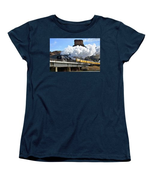 Union Pacific Steam Engine 844 And Castle Rock Women's T-Shirt (Standard Cut) by Eric Nielsen