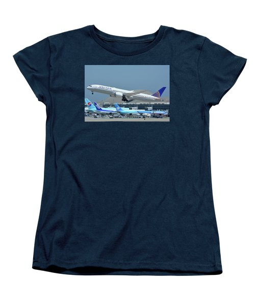 Women's T-Shirt (Standard Cut) featuring the photograph United Boeing 787-9 N27965 Los Angeles International Airport May 3 2016 by Brian Lockett