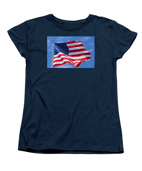 Women's T-Shirt (Standard Cut) featuring the photograph United States Flag by Elizabeth Budd
